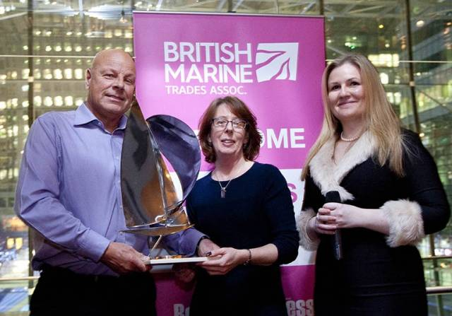 Pictured L-R are:  Gary Sutcliffe – Lee Sanitation – Lifetime Achievement Award, with Katina Read – Editor, Boating Business and Lyndsay Hall – Media Sales Manager, Boating Business.