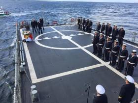 Armada Fleet: Spanish Navy wreath laying ceremony on board Centinela, a fishery patrol vessel off the Sligo coast