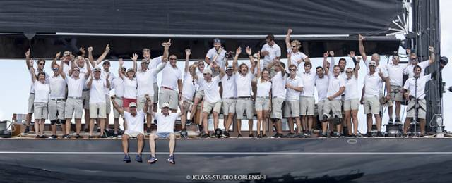 The winning crew of Lionheart in Bermuda yesterday