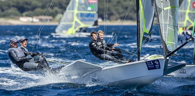 Ballyholme Yacht Club's Ryan Seaton and Matt McGovern lie 17th in a fleet of 40–boats in Hyeres, France at the Sailing World Cup
