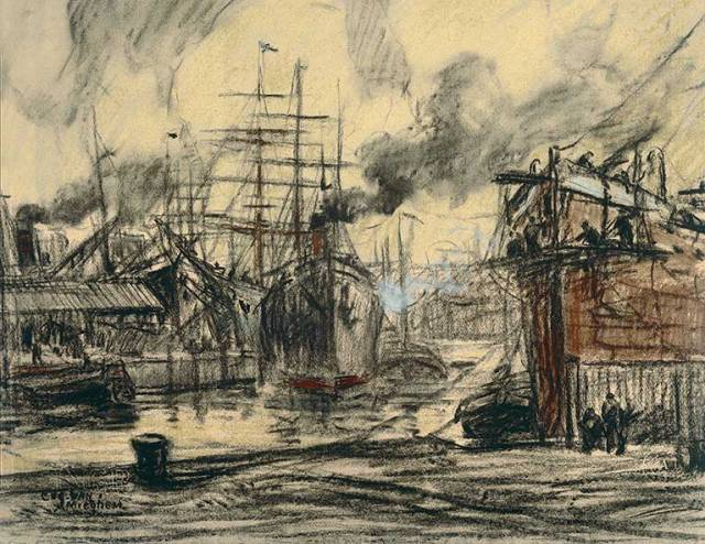 Steamers and Three Masted Ships by Eugeen Van Mieghem