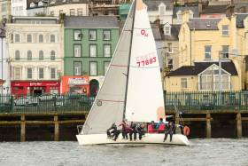 Coracle IV, an Olson 30, skippered by Kieran Collins is lying third overall after two races sailed in the IRC 2 division of the CH Marine Autumn Regatta 2017. Scroll down for photo gallery from today's racing