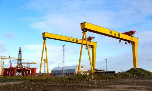 The famous yellow cranes of Harland & Wolff