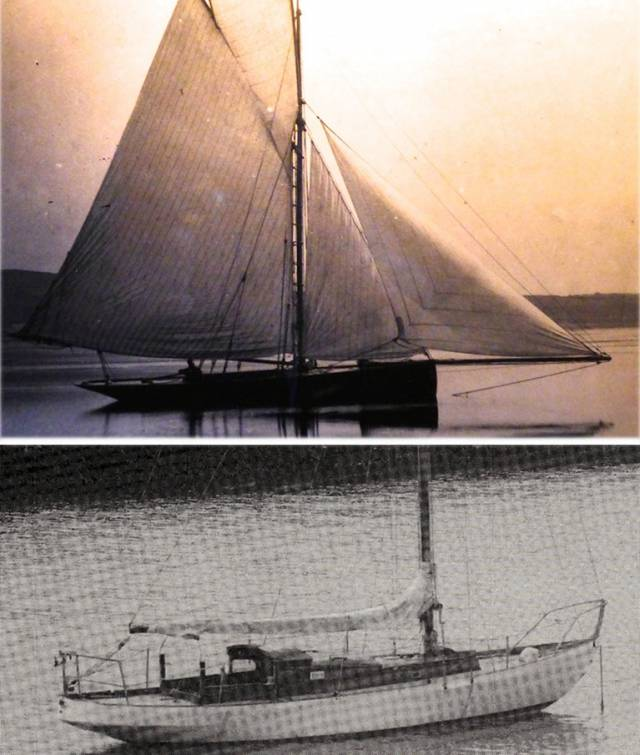 (Top) Bonito as she was in Strangford Lough in 1884 and (above) Bonito as she was in Dun Laoghaire for many years under Roy Starkey's ownership