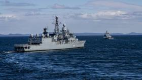 The German Navy frigate FGS Augsburg (left) recently took part in exercises involving rocket shooting in waters near Sundsvall, Sweden. Also involved is the corvette, FGS Erfurt auf dem.