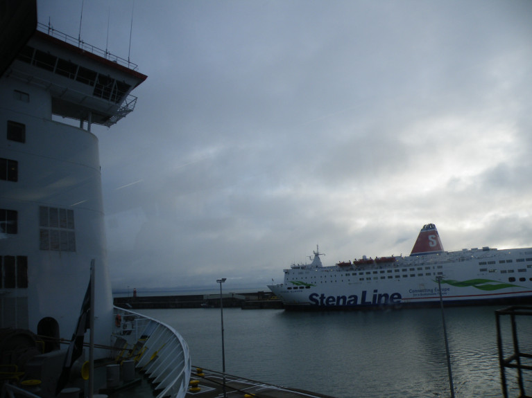 "According to NorthWalesLive, operator of the Rosslare-Fishguard route Stena said ""So far this year passenger volumes are down -80% and freight volumes are down -50% year-on-year."" The route's ferry, Stena Europe (above) is to transfer to Dublin-Holyhead albeit on a temporary basis to cover annual overhaul dry-dock of fleetmates.  AFLOAT adds the absence of sailings for a week sees only Irish Ferries operate Isle of Inishmore (left) on the Rosslare-Pembroke link with Milford Haven, south Wales."