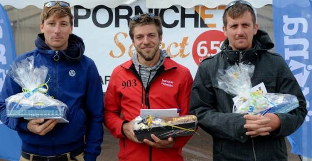Tom Dolan (right) on the podium in France after his third place in the Pornichet of the French Solo Offshore Championship. He is pictured with Valentin Gautier and Pierre Chedeville
