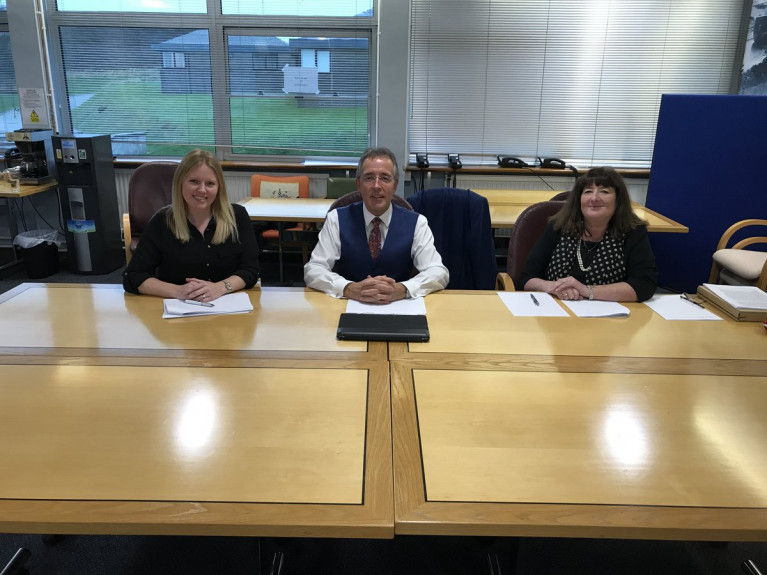 The scholarship panel was chaired by the Port of Milford Haven Chairman, Chris Martin (centre) who was joined by Sara Aicken from the Port (left) and Maxine Thomas from Pembrokeshire College (right).