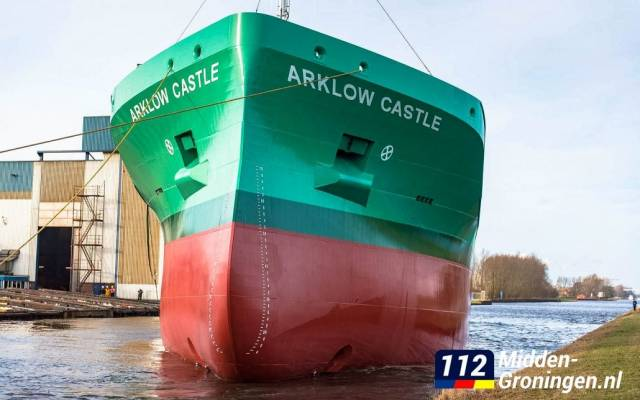 After the launch of newbuild Arklow Castle yesterday in the Netherlands. The third 'C' class cargoship revives a name of a predecessor which notably operated a rare 'container' only service for ASL