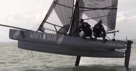 The British foiling Vampire catamaran has already reached 30–knots. See video below.