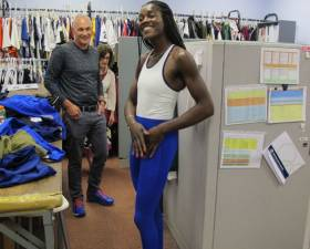 Textile engineer Mark Sunderland with US Olympic rower Chierika Ukogu fitting for the new unisuit design