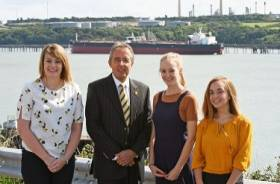 Last year's winners of the Port of Milford Haven scholarship scheme and the port chairman Chris Martin. In addition to serving as a ferryport (in Pembroke linking Rosslare) the UK port is widely recognised as the energy capital of the country, handling around 20% of seaborne trade in oil and gas.