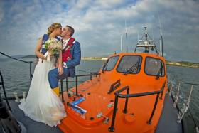 Helen McFarland with her husband, Lough Swilly lifeboat crewman Francy Burns