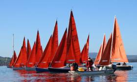 A Squib race start on Lough Derg at the Freshwater Regatta
