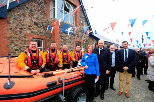 Pictured on their new D class lifeboat Dennis-Audrey are crew members Connie O'Gara, helm Alan Goucher, Dean Mulvihill and Paul Sillery with donor representative Michelle Gavin, David Delamer, chair of the Irish Council of the RNLI, Des Davitt, Wicklow RNLI Lifeboat Operations Manager and Owen Medland, RNLI Area Lifesaving Manager.