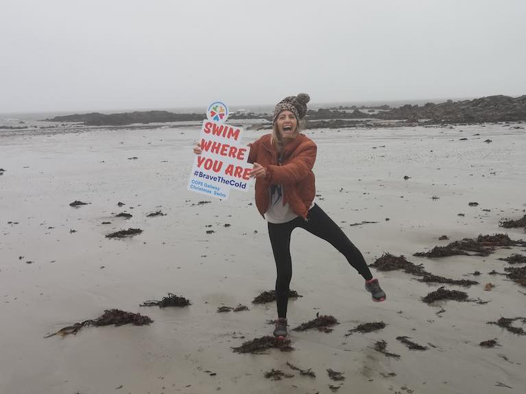 Máire Treasa Ní Dhubhghaill, Presenter of Rugbaí BEO on TG4, launched the Christmas event #SwimWhereYouAre for COPE Galway, which will take place over 10 days from 21-30 December, at your nearest beach, wherever you are in the world.