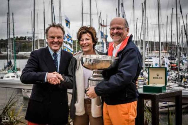 The RORC Commodore has to be omni-present at the conclusion of the biennia Fastnet Race. Michael Boyd is seen here (left) with Overall 2017 Winner Didier Gaodoux of the JNA 39 Lann Ael 2 and his wife in Plymouth