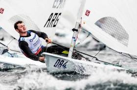 World U21 Bronze medallist Liam Glynn from Ballyholme Yacht Club was unlucky to miss the cut for Gold fleet in the mens Laser fleet