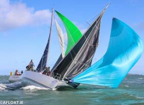 Big gusts  for the second day of racing at the J109 Nationals on Dublin Bay