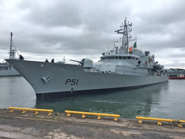 LÉ Róisín departing Haulbowline on Sunday 1 May for the Naval Service's first Mediterranean deployment of 2016