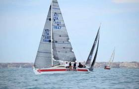 The Checkmate crew racing Gunboat Rangiri in Italy