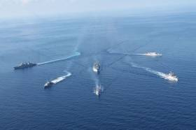 L.É. Niamh, second ship on the left seen underway as part of a six-strong EU naval flotilla that carried out a EUnavfor Operation Sophia 'anti-people trafficking' exercise held late last month in the Mediterranean Sea.