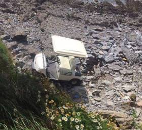 The golf buggy fell down the short cliff from the golf course on Dungarvan Bay on Wednesday