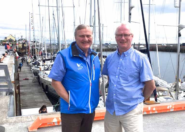 Irish Sailing President Jack Roy (left) with Cormac Mac Donncha at Kilronan in the Aran Islands in 2017 at the first staging there of the WIORA Championship, another Mac Donncha innovation.