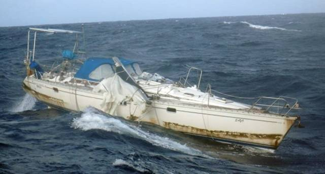 The Sayo yacht, where the sole occupant was unfortunately found dead, in a state of advanced decomposition.
