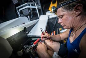 Turn the Tide on Plastic's general boat captain genius Liz Wardley saves the day by fixing the boat's problem water maker pump