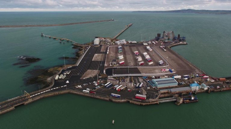 Brexit: A new lorry customs site could be set up on the outskirts of Holyhead Port in north Wales. Above Afloat adds the main terminal compound located on Salt Island in the outer port serving ferry operators linking Dublin Port