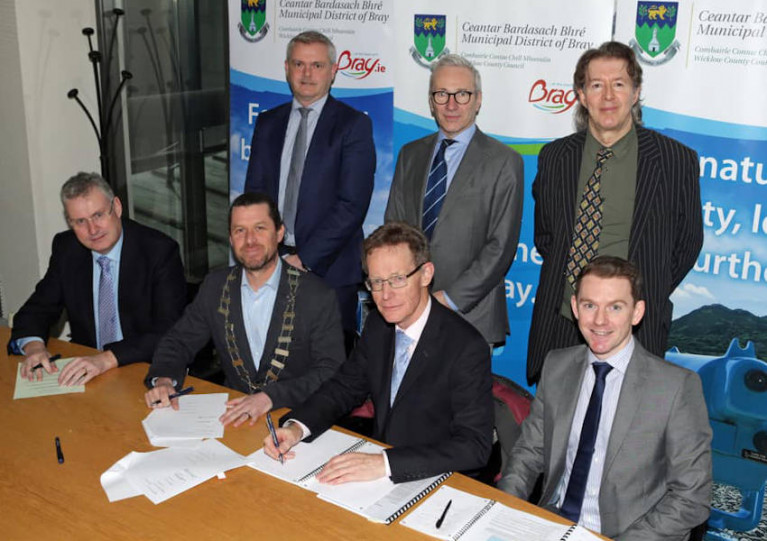 Bray MD Cathaoirleach Steven Matthews with consultants RPS Group signing the contract this past week