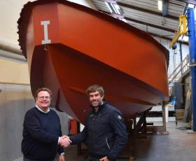 Artemis Technologies CEO Iain Percy OBE, right, joins Jonas Pederson, Managing Director at Tuco Marine, to announce a Joint Venture that will produce the world's first zero emissions workboat