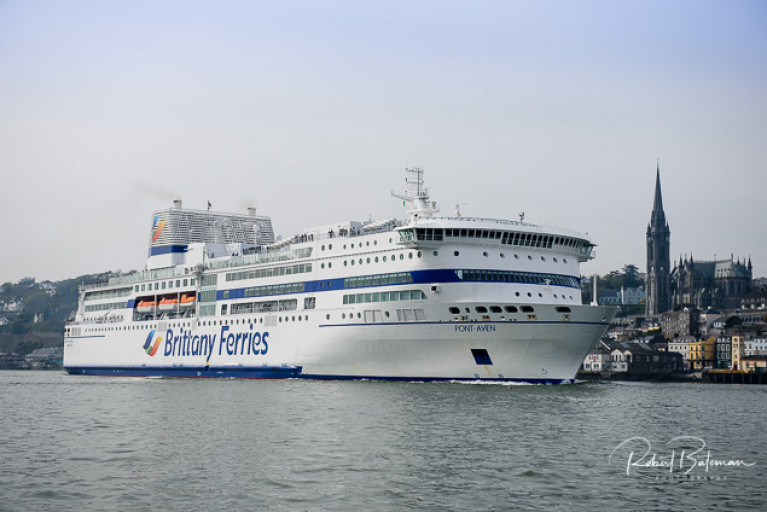 The Cork-Roscoff route is very popular with holidaymakers. AFLOAT adds Brittany Ferries other Irish services based out of Rosslare will also begin next week on the routes to Roscoff, France and Bilbao, Spain. Above seen last season is flagship Pont-Aven departing the Port of Cork with Cobh in the background.