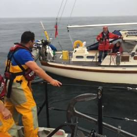 Red Bay RNLI prepares to tow the 40ft yacht to Cushendall