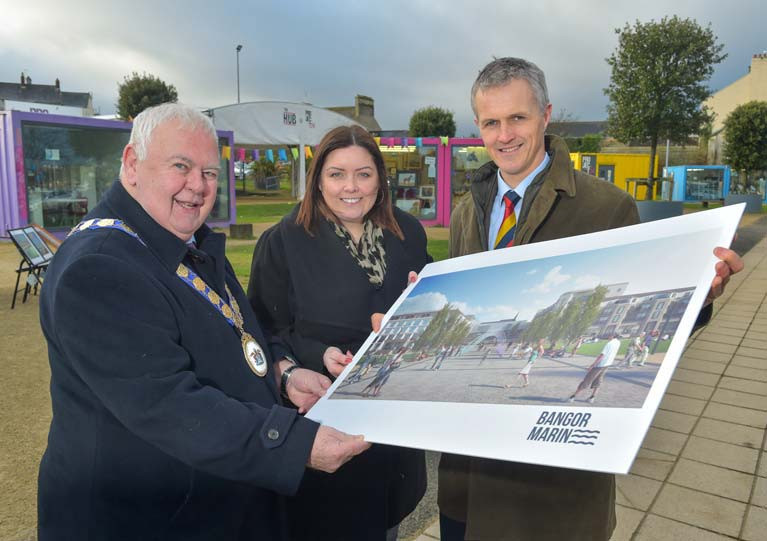 Bangor Regeneration (Pictured-L-R) Mayor of Ards and North Down Communities Alderman Bill Keery, Deirdre-Hargey MLA and Aran Blackbourne from Bangor Marine Ltd