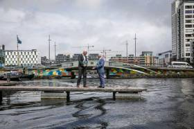 Fáilte Ireland chief Paul Kelly greets Waterways Ireland acting CEO John McDonagh at the latter's office at Dublin's Grand Canal Quay