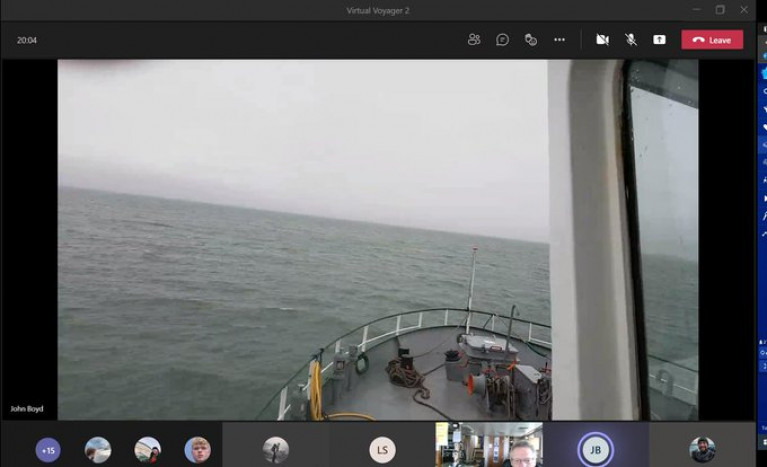 VIRTUAL VOYAGER: An 'online' view taken from RV Celtic Voyager's wheelhouse with below marine biology students ashore! taking in the 'live-streaming' from tutors while in Dublin Bay.