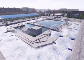Still from an animation showing the proposed rafting centre in operation