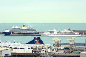 At the Port of Dover, AFLOAT adds in the foreground is a 'Darwin' class ferry of P&O Ferries, one of four ferry firms awarded contracts to transport medicines in the event of a no-deal Brexit. In the background is newbuild cruiseship Spirit of Discovery (SAGA) which made its maiden calls to Ireland this season and Europa (Hapag-Lloyd Cruises), a previous caller to such waters.