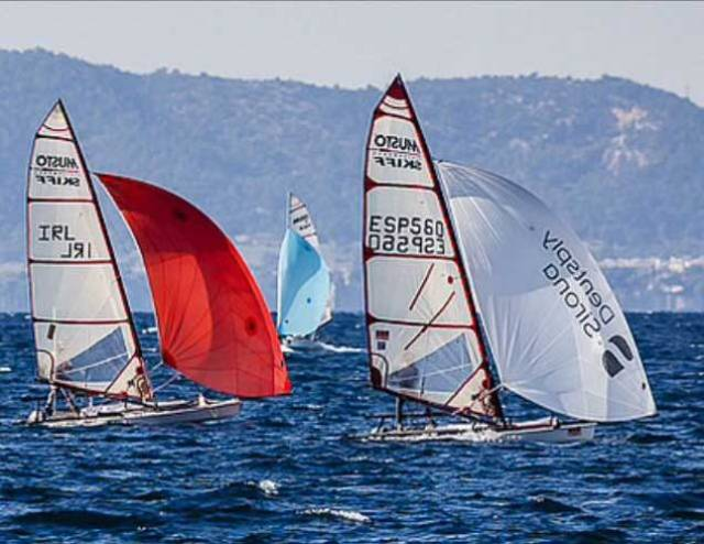 Tim Goodbody competing in the Musto Skiff