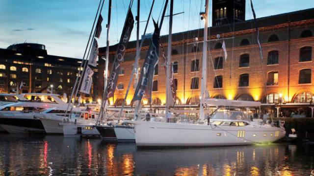 Luxury yachts berthed at St Katherine Dock for the erstwhile London On-Water Boat Show