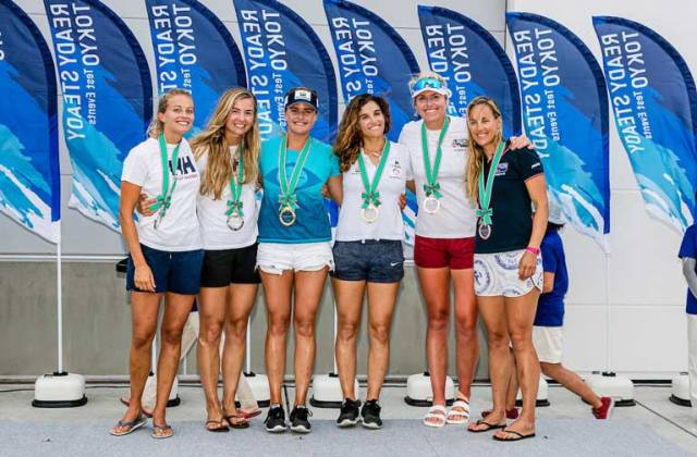 Royal Irish's Saskia Tidey (second from right) on the podium in Enoshima with her bronze medal