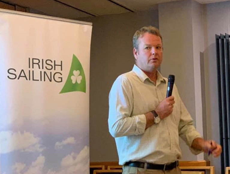 Harry Hermon, CEO of Irish Sailing, speaking at last October's meeting in Howth