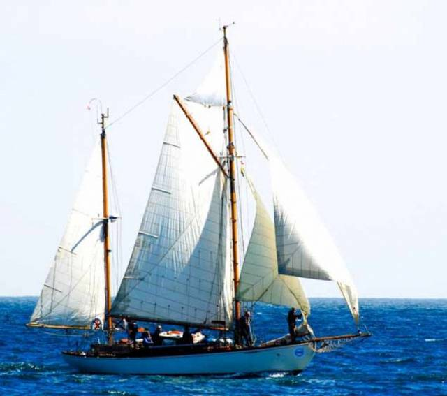 Maybird on the finish line at Wicklow in July, the first gaff-rigged boat to complete the Round Ireland Race since its inception in 1980