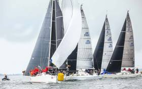 Class One action at the weather mark of the inaugural Wave Regatta at Howth in June