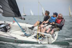 Not hangin' around – The SB20 Sea Biscuit (Marty Cuppage) is racing for Southern Championship honours as part of Volvo Dun Laoghaire Regatta