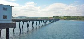 The oil terminal jetty at Cloghan Point south of Whitehead, Co Antrim