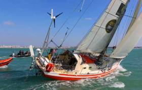 Fourth placed sailor in Golden Globe Race Istan Koper who finished in Les Sables D'Olonne today