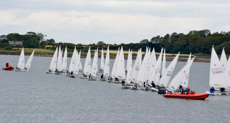 A start for Laser dinghies at the 2020 Ballyholme Regatta on Belfast Lough